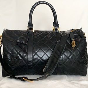 CHANEL Quilted Diamond Stitch Boston Duffle Bag
